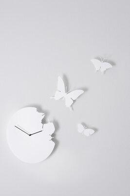 Diamantini Butterfly 40 cm klok wit