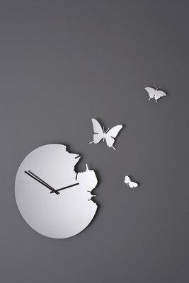 Diamantini Butterfly 40 cm klok aluminium