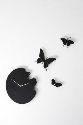 Diamantini Butterfly 40 cm klok zwart