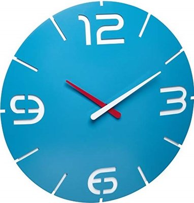 TFA Contour Radiogestuurd blauw 35 cm klok